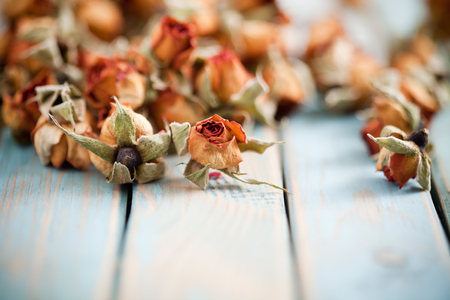 fragrant: Beautiful dried roses on wooden background Stock Photo