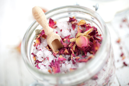 Homemade bath salt with pink roses Stock Photo