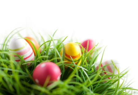 Colorful Easter eggs on white background Stock Photo