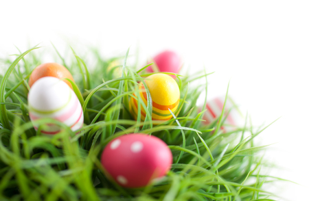 Colorful Easter eggs on white background 스톡 콘텐츠