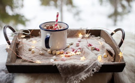 Hot Chocolate with peppermint and marshmallows Stock Photo