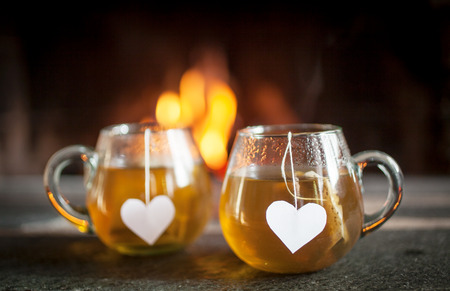 comfort food: Tea for two by the fireplace