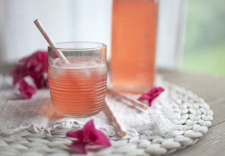 Homemade juice with rhubarb and strawberries