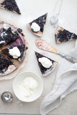 Fresh blueberry pie with vanilla ice cream