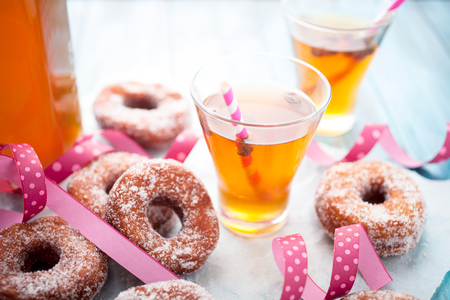 Traditional finnish sima and sugar donuts