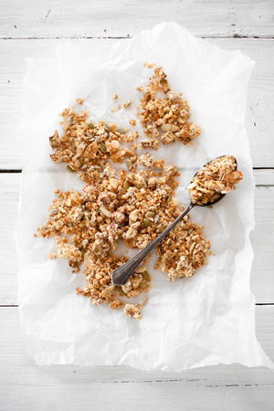 Homemade granola wit oats and rhubarb