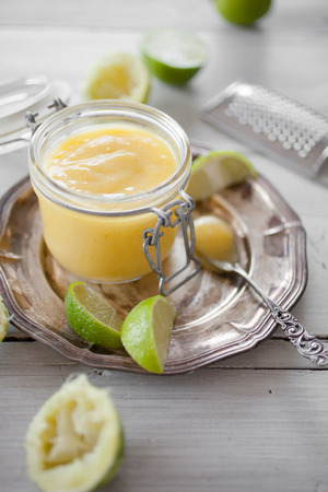 Homemade lime curd with slices Stock Photo