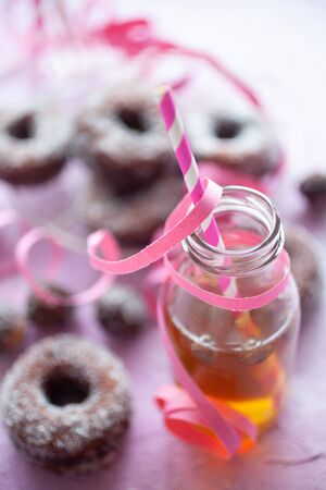 Sugar donuts and traditional finnish drink sima