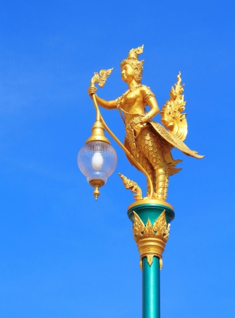 Ginnaree street lamp with a blue sky background, Thailand
