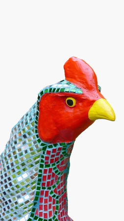 Chicken statue decorated with colorful isolated on white background