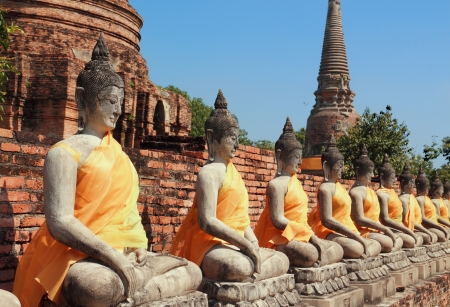 Ancient buddha statues with blue sky, Ayutthaya, Thailand