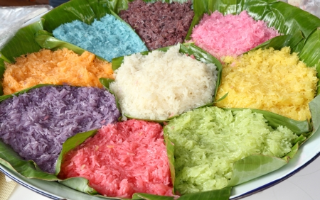 Colorful Sticky Rice, Appetizer of Thailand