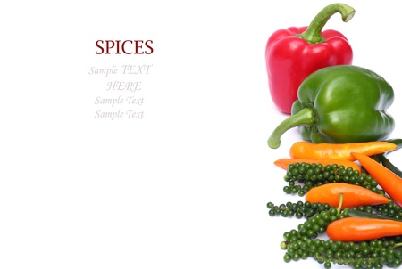 Group of pepper isolated on white background with sample text Stock Photo