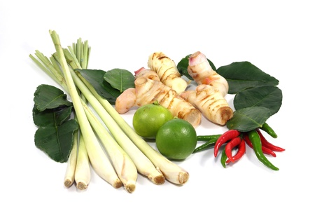 Thai food ingredient for Tom yum isolated on white background Stock Photo