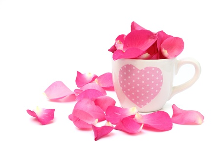 Cup full of rose petals on white background photo