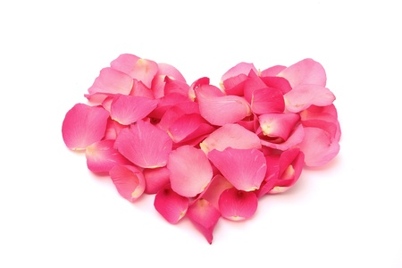 Rose petals in a form of heart on white background