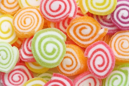 Close up group of marshmallow with gelatin dessert background