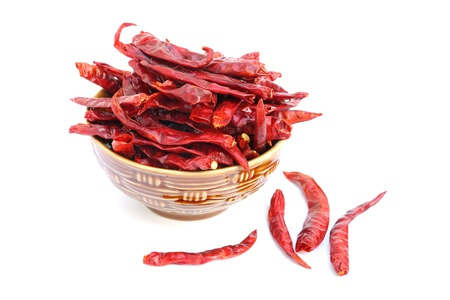 Dry red chili pepper on white background Stock Photo
