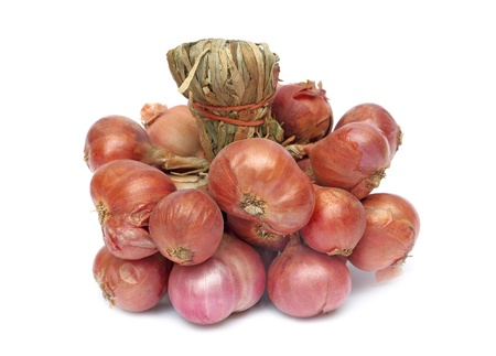 Group of shallot onions isolated on white background Stock Photo