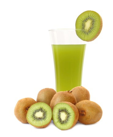 Kiwi fruit and juice on white background