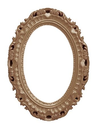 Brown vintage frame isolated on white background Stock Photo