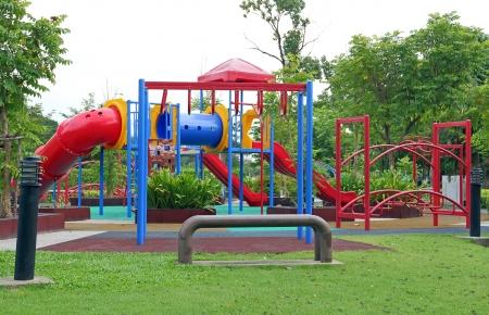 Children playground in the public park  Stock Photo