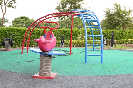 Children playground in the public park  Stock Photo