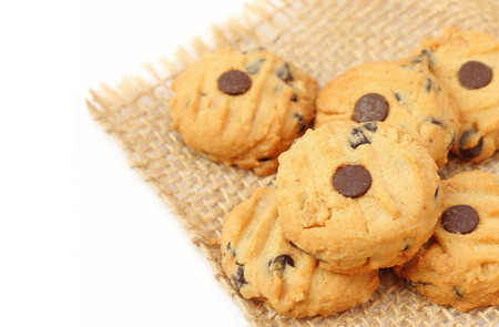 Close up chocolate chip cookies with selective focus Stock Photo
