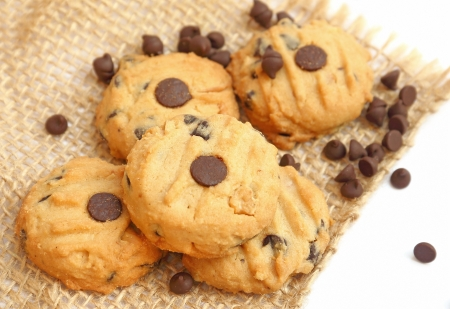 Close up chocolate chip cookies