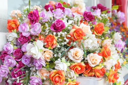 Close up bouquet of rose flowers decoration