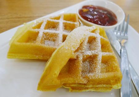 Waffle with strawberry jam Stock Photo