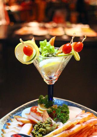 Close up cocktail food