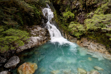 fiordland: Waterfall in Fiordland National Park, New Zealand