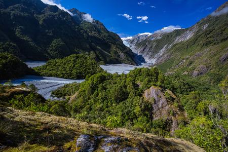 franz josef: Franz Josef Glacier y fondo del valle, Westland, Isla Sur, Nueva Zelanda