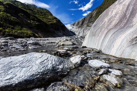 franz josef: Franz Josef Glacier and valley stream