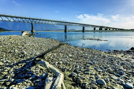 one lane: One lane bridge over Haast River, Westland, New Zealand