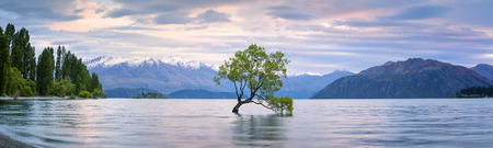 Panorama van Lake Wanaka, Otago, Nieuw-Zeeland Stockfoto