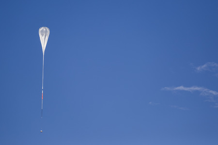 helium: NASA high pressure helium balloon in the sky above Wanaka, Otago, New Zealand on 17 March 2015
