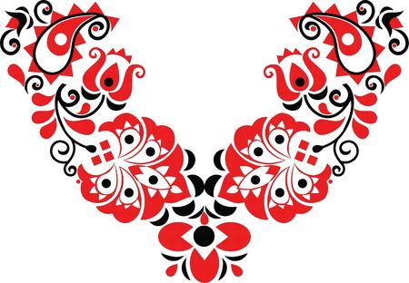 hermoso arte popular, decoración floral Ilustración de vector