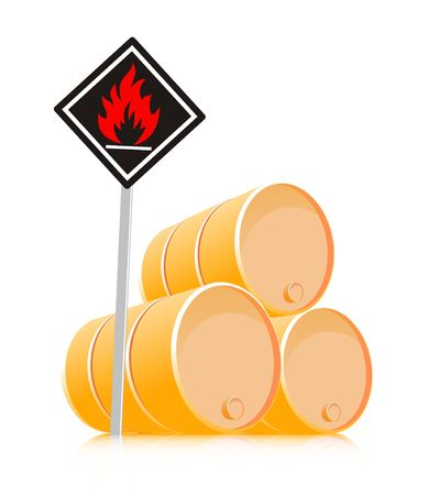 sign inflammable material barrel fuel gasoline petroleum Stock Photo