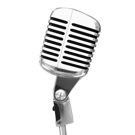 shure: old microphone isolated Stock Photo