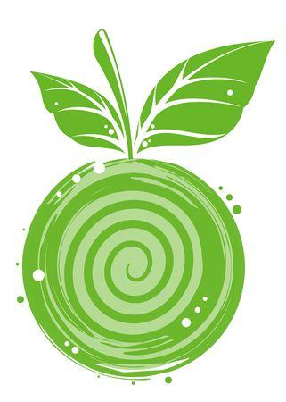 apple green vitamine food vector sheet fruit Stock Photo