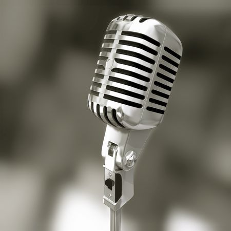 Microphone electronic song volume voice speech stereo Stock Photo - 3213282
