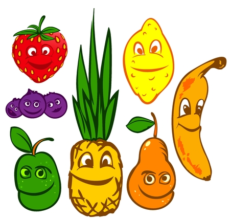 whortleberry: Comic crazy fruits vector illustration colored collection