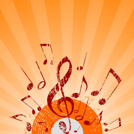 vinyl disk player: note rays orange