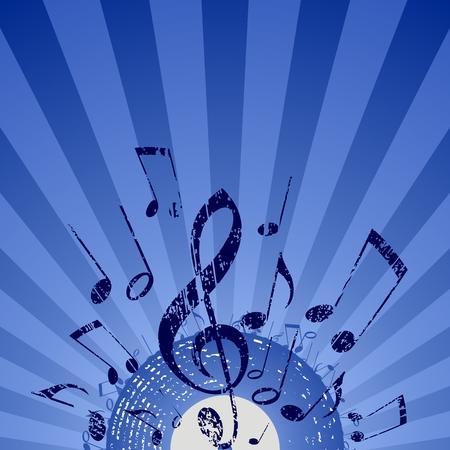 llave de sol: nota rayos azul