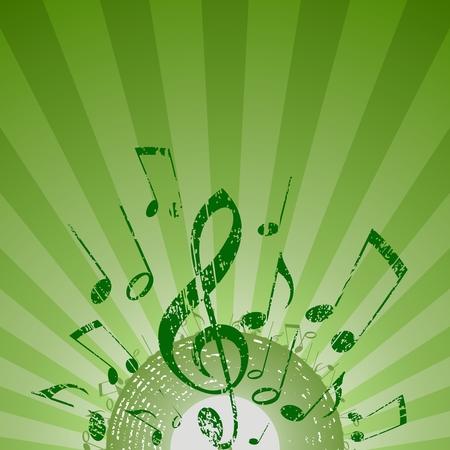 llave de sol: nota rayos verde Vectores