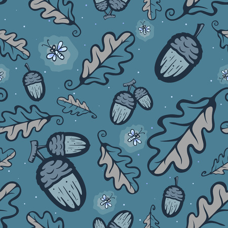 fireflies: Night oak forest pattern Illustration