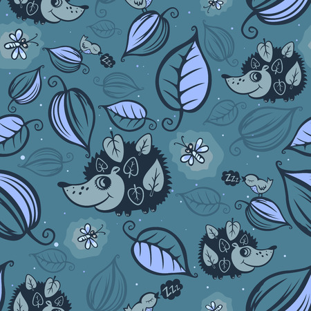 Hedgehogs in the night forest pattern Vector