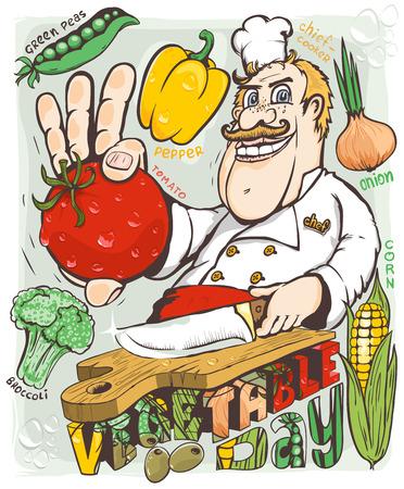 kitchener: Chef vegetable day vector illustration Illustration